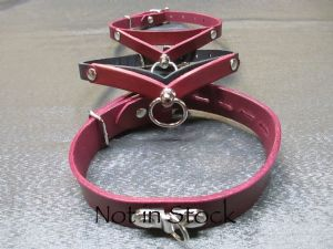 Oxblood/Black Elegant Half inch Slim-line 3D Drop Collar